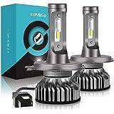 Bombilla H4 LED Coche, 10000LM Faros Delanteros Bombillas para Moto, Reemplazo de la Luz Halógena, 12V-24V, Xenon Blanco 6000K, 2 Lámparas
