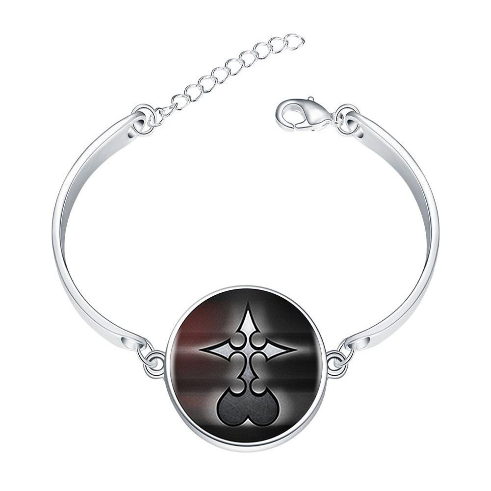 DOME-SPACE Adjustable Silver Bracelets Kingdom Hearts Nobody LogoHand Chain Link Bracelet Clear Bangle Custom Glass Cabochon Charm