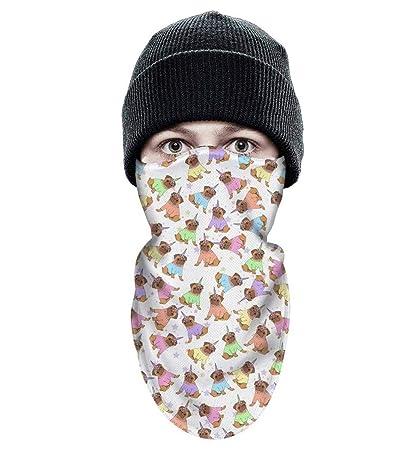 fd75096a668 Dojaavydd Unisex Ski Mask Pug Unicorn Wind-Resistant Face Mask Winter  Warmer Winter Bandanas Face