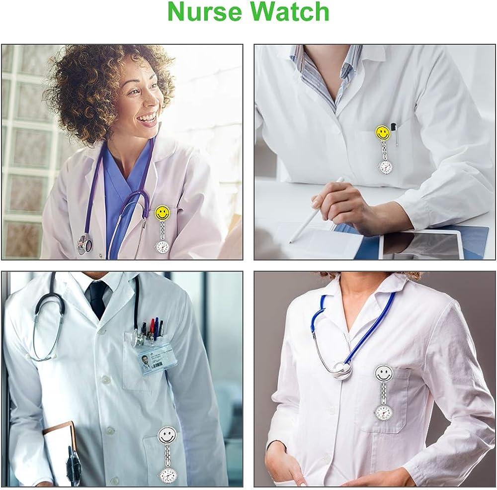 2 Pack CestMall Nurse Watch para Mujeres, enfermería Fob Relojes Medical Pocket Paramedic de Cuarzo Quartz Watch Dial Diseño Clip-on Acero Inoxidable Reloj de Enfermera, Reloj de Bolsillo: Amazon.es: Relojes