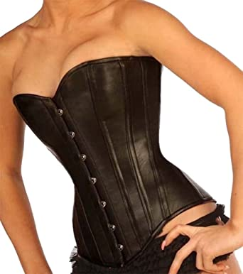 8c78501427 Black Leather with Leather Lining Full Steel Boned Corset 1919LL (22 quot )