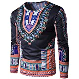 HANYI Men'S National Style Tribal Pattern Printing Long-Sleeved Round Neck T-Shirt (M, Orange-A)