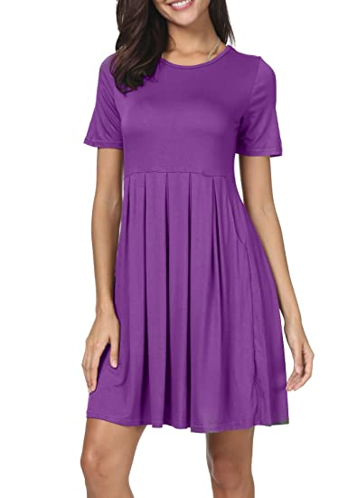 943017a0d020 Image Unavailable. Image not available for. Color: Women A line O Neck  Draped Loose Casual Swing Short Dress with Pockets Purple M