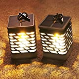 Solar Lantern, HKYH Flicker Flame LED Candle Lantern Solar Powered Outdoor Hanging Mission Lights with Clamp for Yard Patio Umbrella Garden Deck Waterproof Lighting & Decoration Auto On/Off 2 Pack