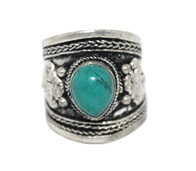 Amazon.com: Adjustable Ring Turquoise Ring, Silver Ring ...