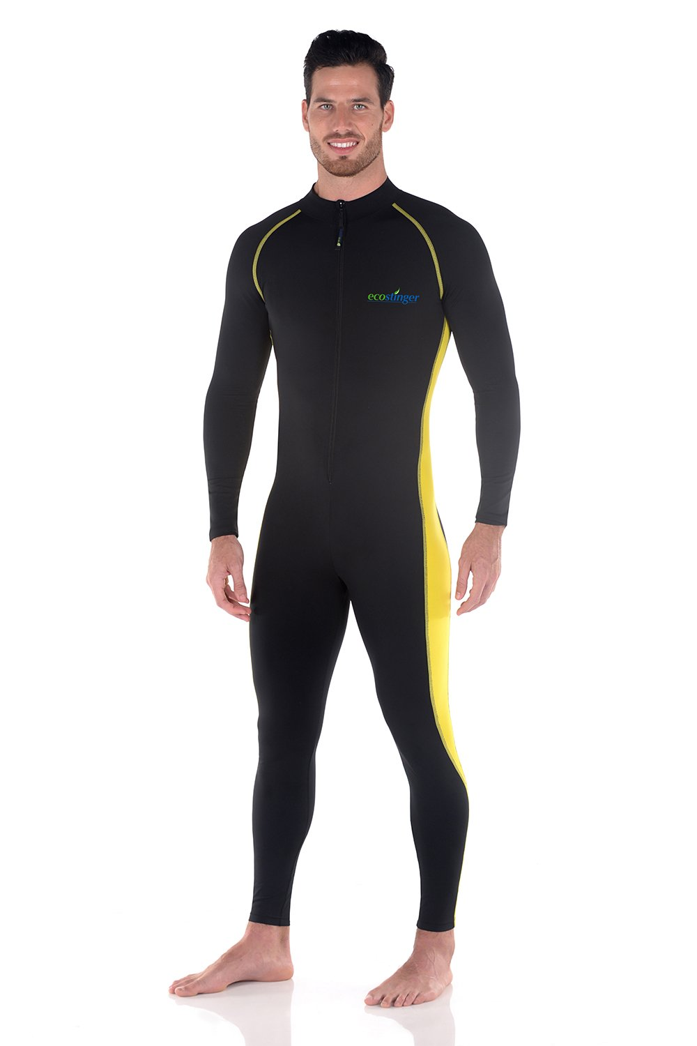 Men Full Body Swimsuit Sun Guard Stinger Suit Dive Skin UPF50+ Black Yellow (M) by EcoStinger