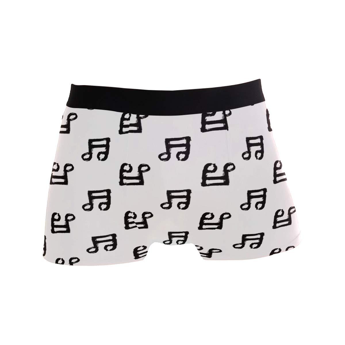 ZZKKO Music Note Mens Boxer Briefs Underwear Breathable Stretch Boxer Trunk with Pouch S-XL