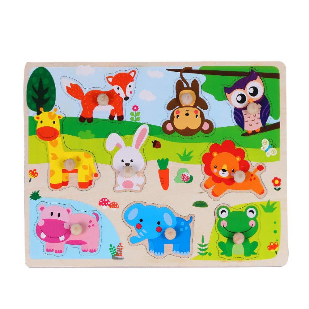 カルム 木製パズル玩具 木製アニマル文字パズル ジグソーパズル 早期教育 赤ちゃん 子供 おもちゃ B07K1Z14BK  B