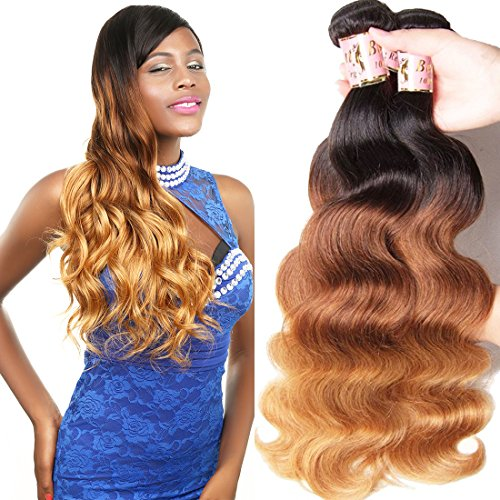 Beauty Forever Hair Peruvian Ombre Virgin Hair 16 18 20 inch Body Wave Hair Weave 3 pieces/Lot Bundles 100% Human Hair Extensions 95-100 g/pc (1b#/4#/27#)