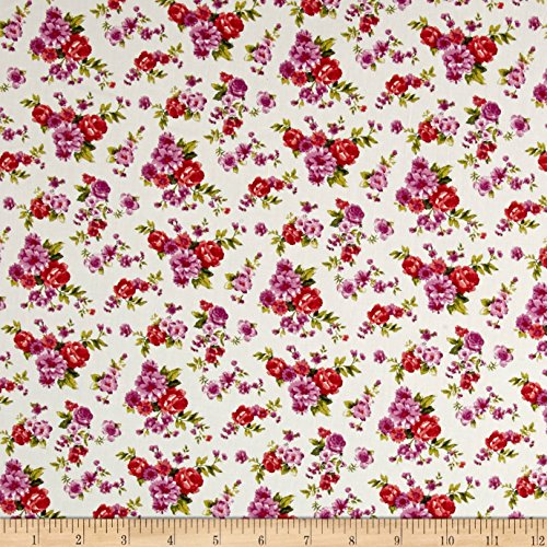 Rose Floral Fabric (Neiman Brothers Cotton Stretch Poplin Floral Snow Fabric by the Yard, White/Orchid)