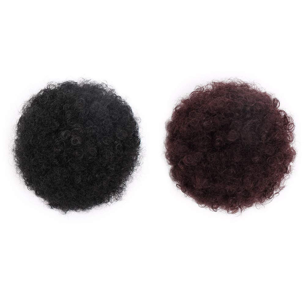 ForQueens High Puff Afro Ponytail Drawstring Short Afro Kinky Curly Pony Tail Clip in on Synthetic Curly Hair Bun Ponytail Wrap Updo Hair Extensions with 2 Clips(#99J) by ForQueens (Image #5)