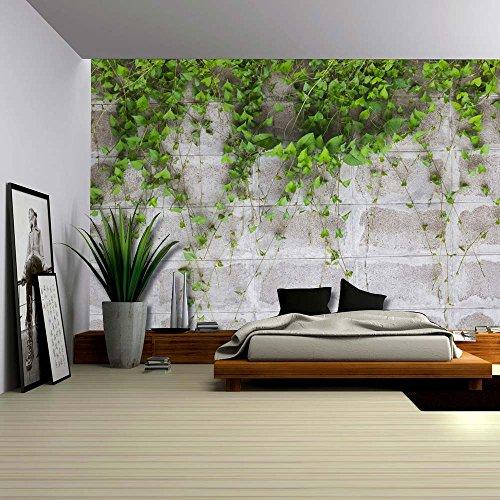 Green Vines ping on a Gray Brick Wall Wall Mural Removable Wallpaper