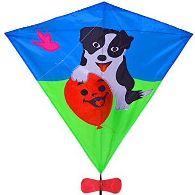 Zhuoyue Diamond Kite Dog 31 Inch Single Line Kite for Kids Easy to Fly with Long Tail and Kite String: Toys & Games