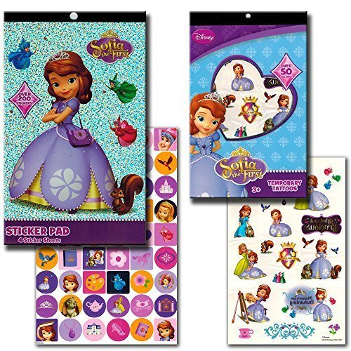 Disney Sofia The First Stickers & Tattoos Party Favor Set (200 Stickers & 50 Temporary (Sofia The First Tattoos)