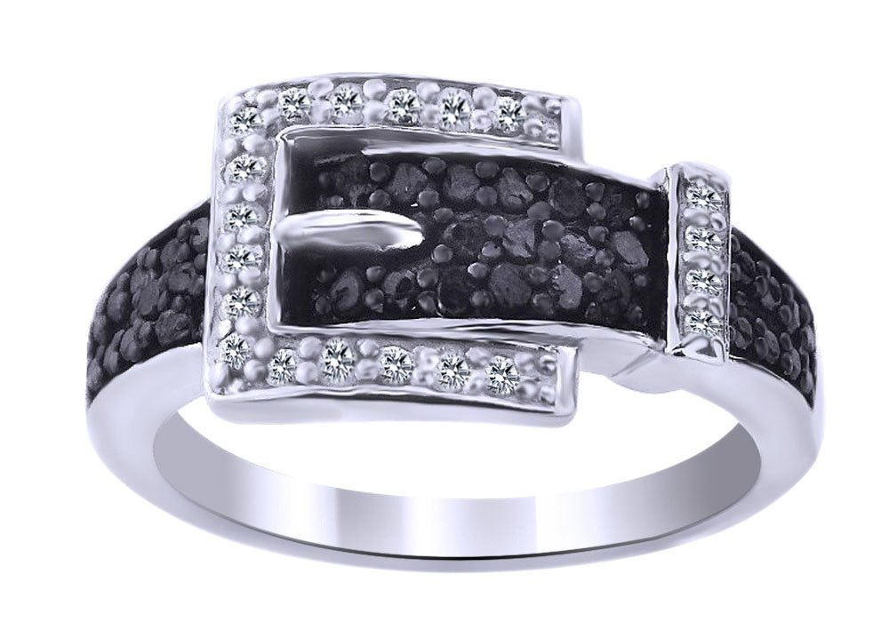 Black & White Natural Diamond Anniversary Belt Buckle Ring In 14k White Gold Over Sterling Silver (0.25 Cttw) Ring Size-7