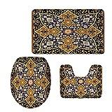 iPrint Fashion 3D Baseball Printed,Arabian,Arabic Islamic Floral Mosaic Patterns South Eastern Antique Orient Ottoman Artwork,Multicolor,U-Shaped Toilet Mat+Area Rug+Toilet Lid Covers 3PCS/Set
