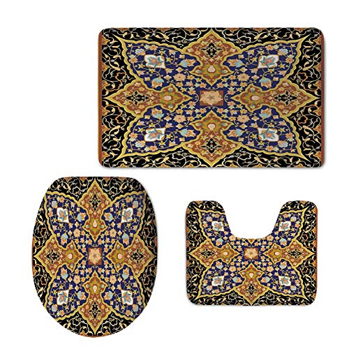 iPrint Fashion 3D Baseball Printed,Arabian,Arabic Islamic Floral Mosaic Patterns South Eastern Antique Orient Ottoman Artwork,Multicolor,U-Shaped Toilet Mat+Area Rug+Toilet Lid Covers 3PCS/Set by iPrint