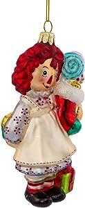 Kurt Adler Glass Raggedy Ann Stocking Ornament, 5-Inch