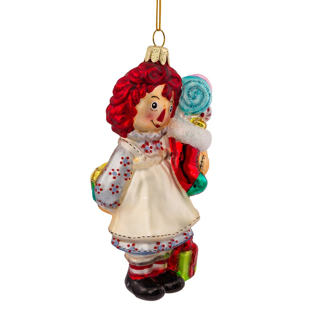 Kurt Adler Glass Raggedy Ann Stocking Ornament 5-Inch RA4141