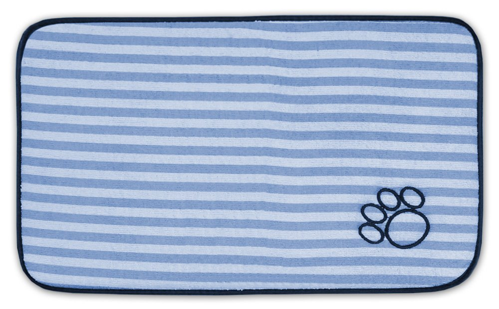 DII Bone Dry Stripe Embroidered Paw Print Pet Mat for Food, Water, Treats in Microfiber for Maximum Absorbency, bluee