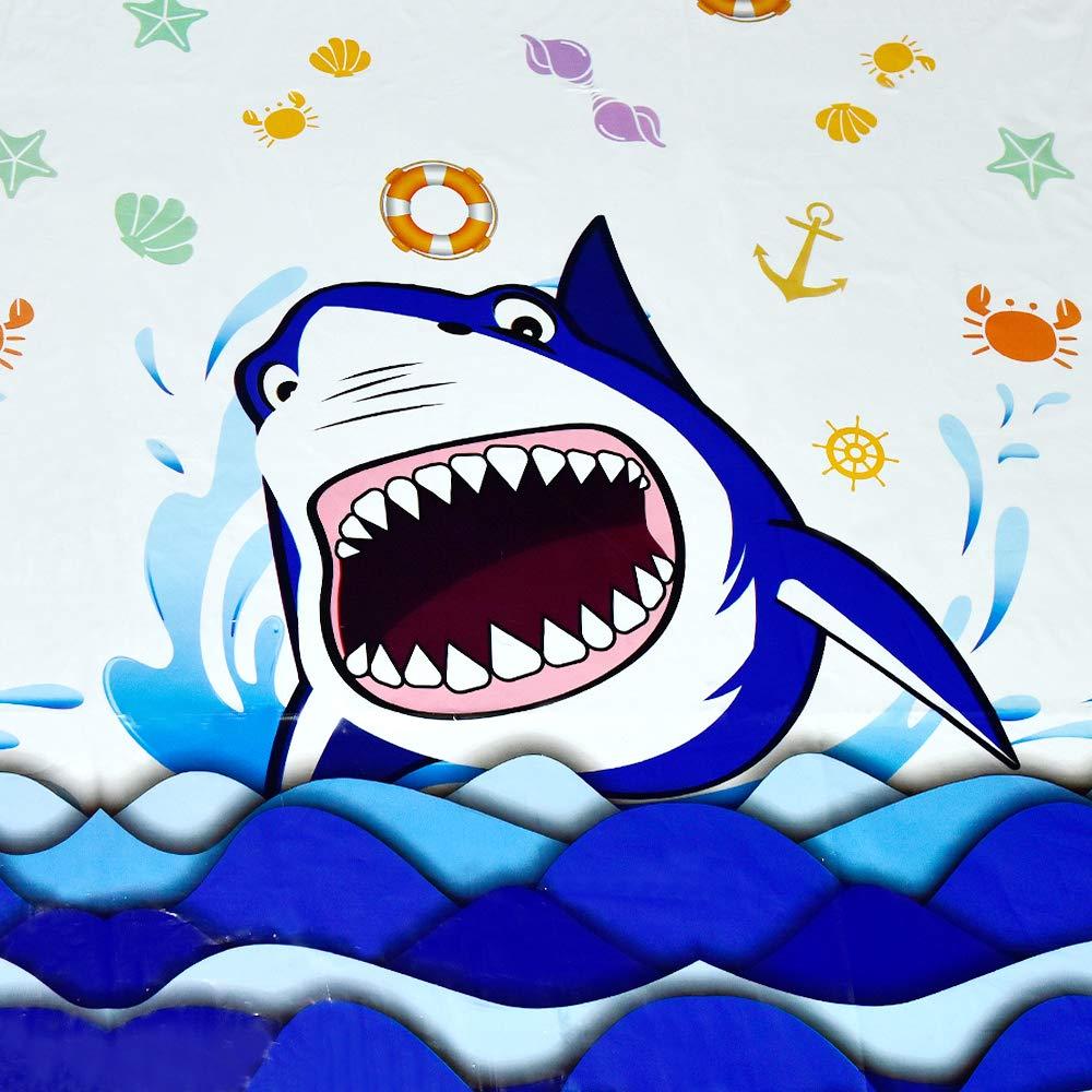 Requin Splash D/écorations pour Gar/çons des Gamins Fournitures de F/ête danniversaire WERNNSAI Nappe de Requin F/ête 1 Pi/èces 110 x 180cm Rectangulaire Jetable Plastique Nappe