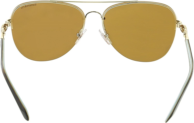 75275b3e656a Amazon.com  Tiffany   Co TF3054B 602164 Sunglasses PALE GOLD w  BROWN  MIRROR WHITE Lens 59mm  Tiffany And Co.  Clothing