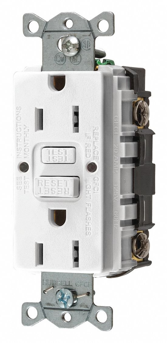15A Commercial Environments Receptacle, White; Tamper Resistant: No