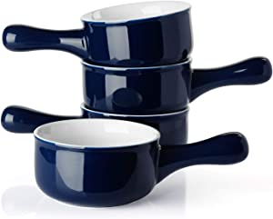 Sweese 109.103 Porcelain Onion Soup Bowls with Handles - 15 Ounce for Soup, Cereal, Stew, Chill, Set of 4, Navy