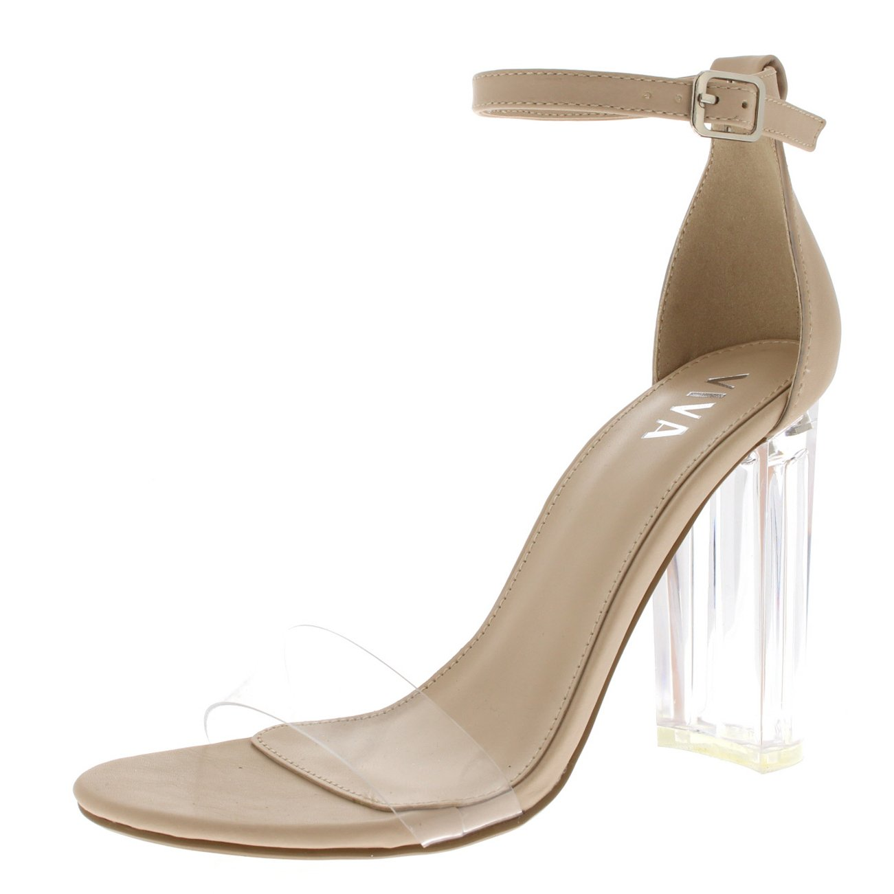 Viva Womens Glass Heel Ankle Strap High Heels Shoes Evening Party Sandals - Nude KL0278I 8US/39