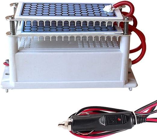 WWK Generador del ozono del Coche, purificador de ozono 10G / H, de Doble Capa integrada Gruesa Placa de cerámica de Enfriamiento Rápido desinfección Conveniente para ...