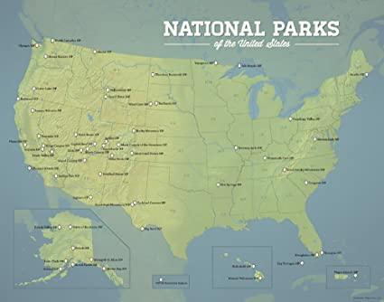 Amazon.com: Best Maps Ever US National Parks Map 11x14 Print ...