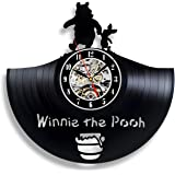 Handmade Solutions Winnie The Pooh Vinyl Record Wall Clock- 12 Inches Vinyl Clock with Silent Quartz Mechanism, 1 AA Battery Required (not Included)