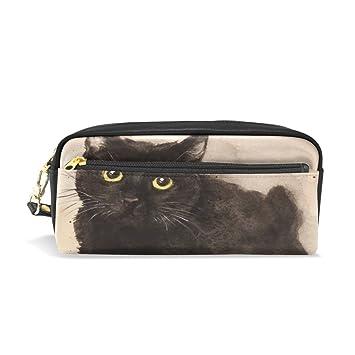 isaoa estuche bolsa de viaje para maquillaje, gato negro ...