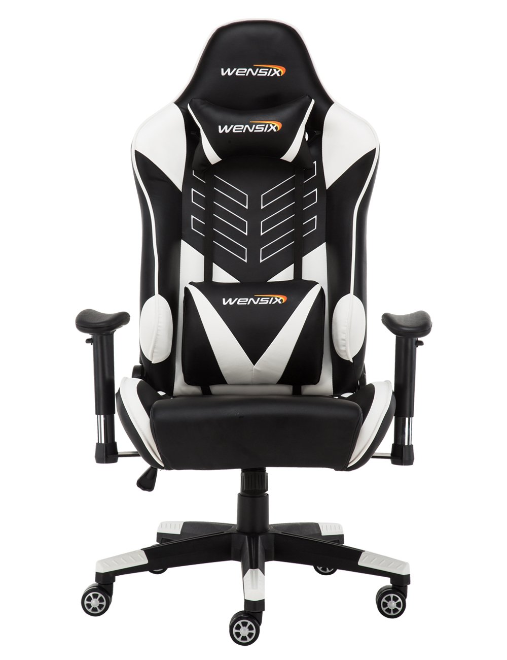 WENSIX Gaming Chair High Back Computer Chair With Adjusting Headrest And  Lumbar Support, Ergonomic Designs Extremely Durable PU Leather Steel Frame  Racing ...