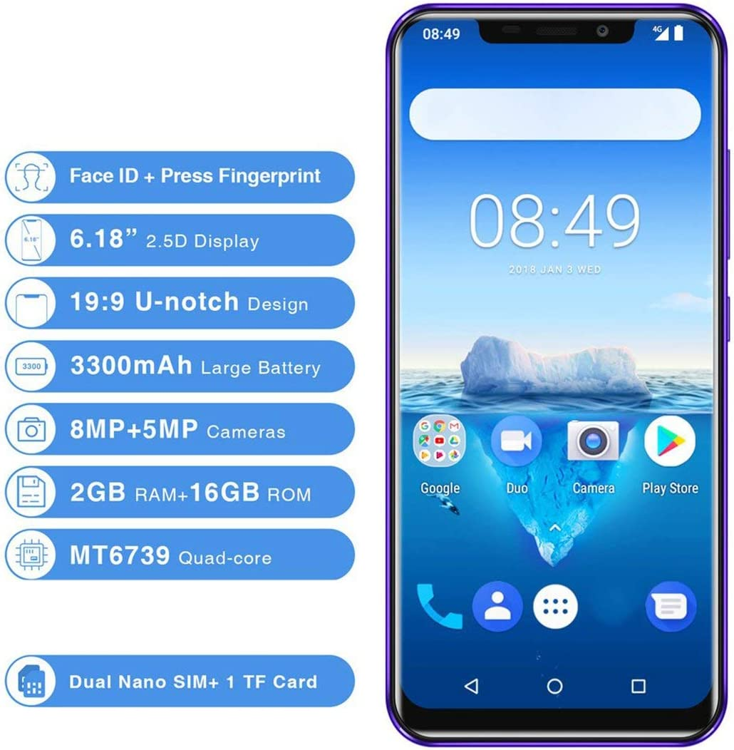 LouiseEvel215 6.18 Pulgadas 19: 9 Pantalla Pantalla Huella Digital Smartphone 2GB + 16G Memoria 4G Teléfonos móviles para Android 8.1: Amazon.es: Jardín