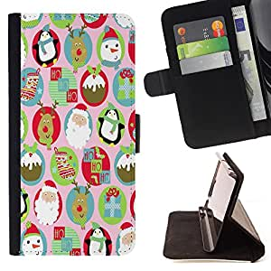 - Merry Christmas Tree Green Red Deer Snow Winer - - Style PU Leather Case Wallet Flip Stand Flap Closure Cover FOR HTC DESIRE 816 - Devil Case -