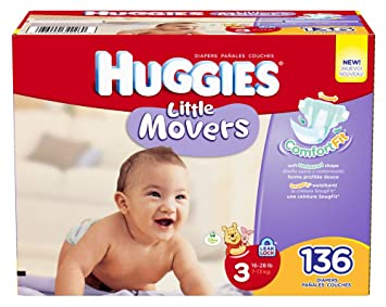 Huggies Little Movers Step 3 Giant Pack, 136 Count: Amazon.co.uk ...