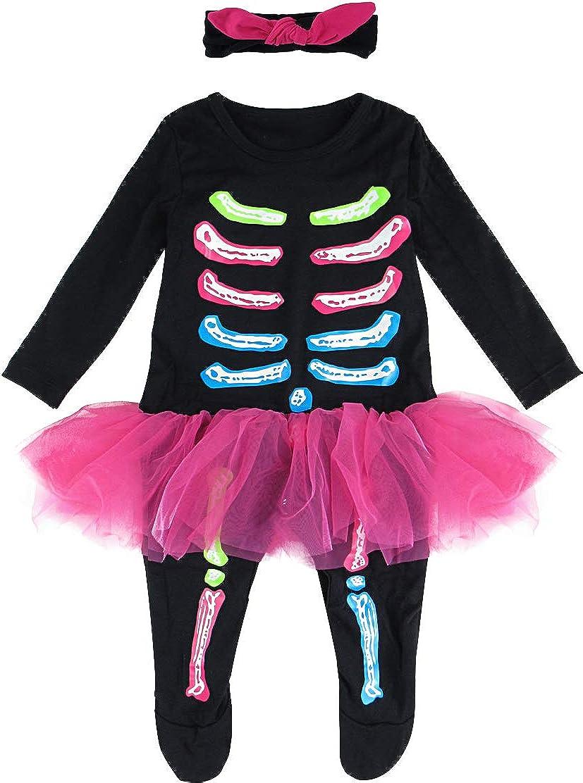 MOMBEBE COSLAND Disfraz de Esqueleto Halloween Monos Tutú para Bebé Niñas