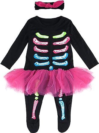 MOMBEBE COSLAND Disfraz de Esqueleto Halloween Monos Tutú para ...
