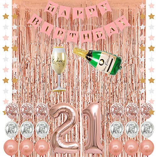 Rose Gold 21 Birthday Party Decorations Supplies, Champagne Balloon, Pink Happy Birthday Banner, 21 Balloons,Rose Gold Foil Fringe Curtains,Confetti Balloons for Finally Legal 21 Birthday