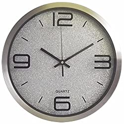 EXDJ 12 stainless steel Round Wall Clock Creative Fashion Quartz Clock Bedroom Living Room Simple Digital Clock