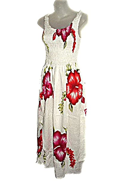 42053848fd Hawaiian Tropical Floral Hibiscus Flowers Print Tank Top Long Sundress O S  (S-L-