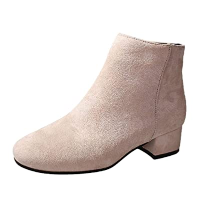 ee311c08fab Amazon.com | UOKNICE Women Boots Flock Ankle Boots Round Toe Booties ...