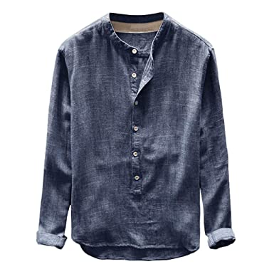 V Homme Manches Tomwell Longues Coton Shirt Col Chemise En Lin v0mNn8w
