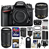 Nikon D7200 Digital SLR Camera with 18-55mm VR & 70-300mm DX AF-P Lenses + Case + 64GB Card + Flash + Battery & Charger + Tripod + Filters + Remote Kit