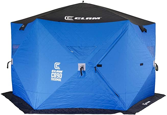 CLAM 14478 C-890 5-6 Person 11.5 Portable Pop Up Ice Fishing Tent