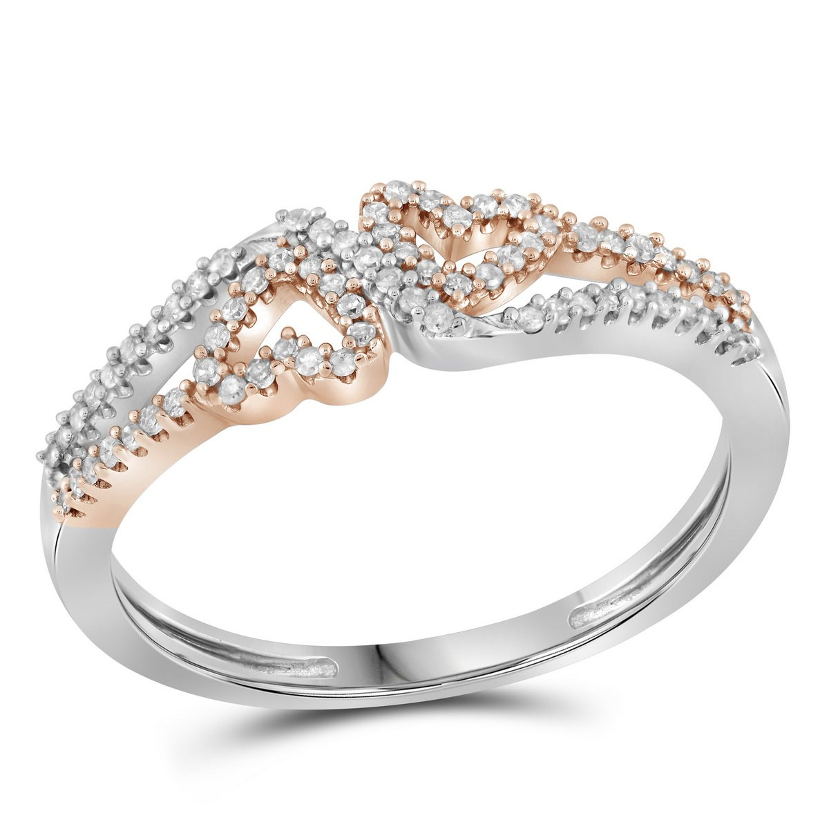 10kt White Gold Womens Round Diamond 2-tone Heart Love Ring 1/5 Cttw (I2-I3 clarity; J-K color)