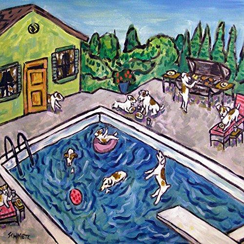 Jack Russell Terrier Tile - Jack Russell Terrier Pool Party Cook Out decor dog art tile coaster gift
