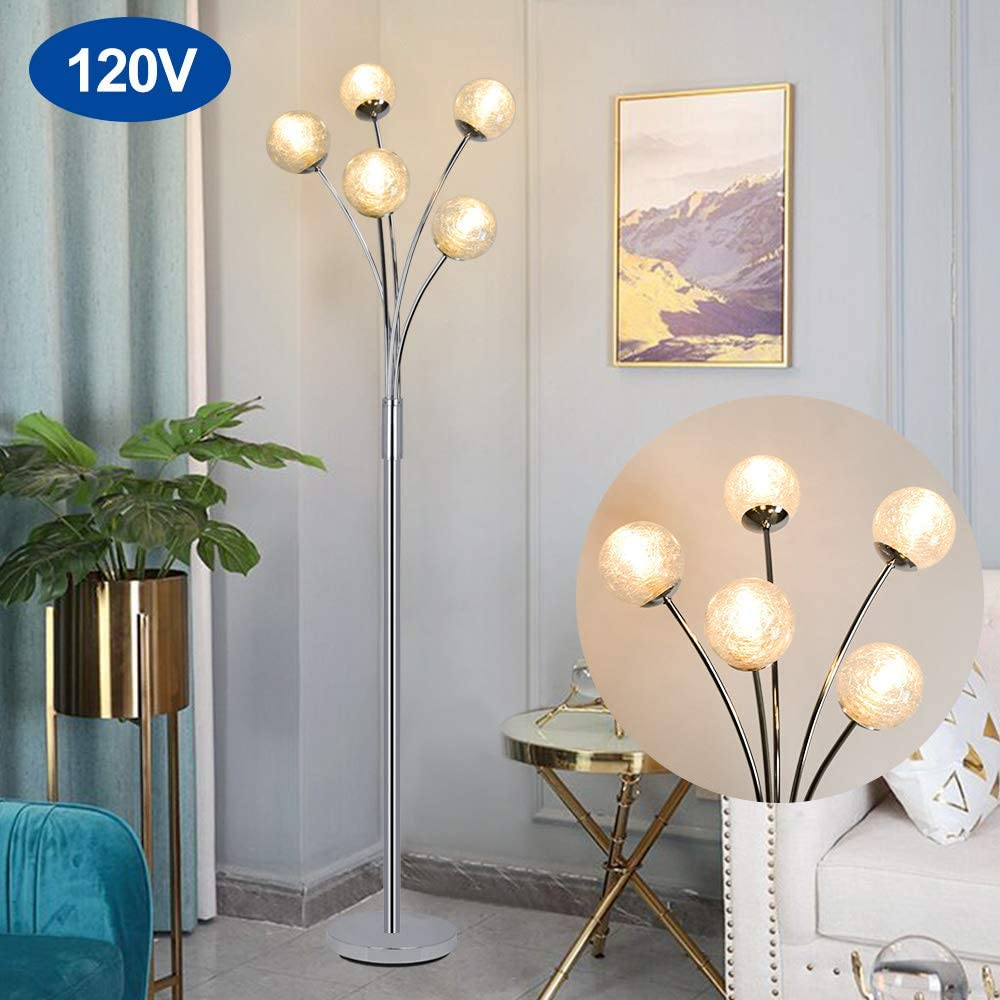 Modern Globe LED Floor Lamps for Living Room-DLLT Standing Lamps with 5 Lights for Bedroom, Tall Pole Tree Accent Lighting for Mid Century, Contemporary Home, G9 Bulb(Not Included) Glass Shade Silver