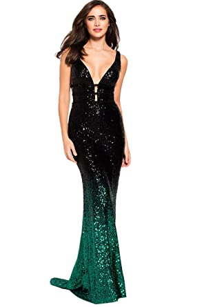 Jovani Prom 2018 Dress Evening Gown Authentic 56015 Long Black Green ... c817981db